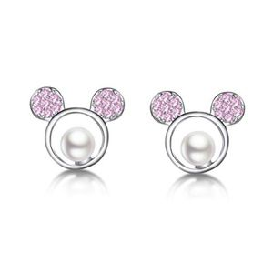 Mickey Mouse CZ Pink /Pearl Silver Mouse  Earrings